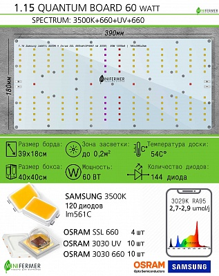 Готовый Quantum board 60 Ватт Quantum board 561C/Sunlike 60 Ватт ver3  3500K + Osram SSL 660nm+UV+660 nm 3030